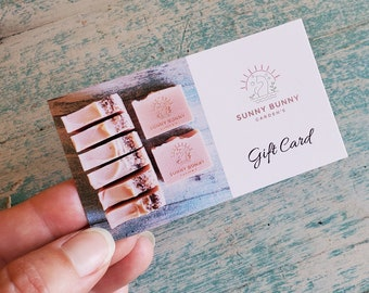 Gift Card | Sunny Bunny Gardens | Organic Soap | Vegan Soap | Body Butter | Lip Balms | Shave Soap | Herb Sachets | Spa Accessories