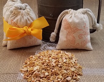 Lemon Sachet Gift Set, Stocking Stuffer, Lemon Potpourri, Aromatherapy, Bath Soak, Baby Shower Gift, Bridesmaid Gift,