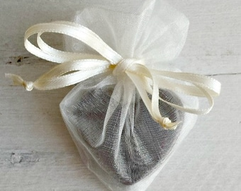 ADD ON Ivory Heart Shaped Organza Favor Bag