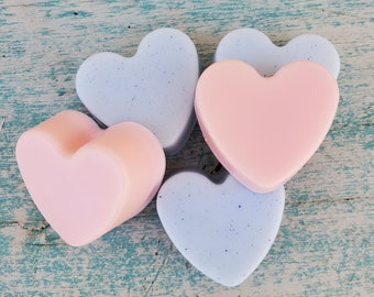 Baby Powder Scented Mini Soap Favors | Mini Soaps | Pink Baby Shower Favors | Baby Blue Baby Shower Favors | Heart Shaped Soap Favors
