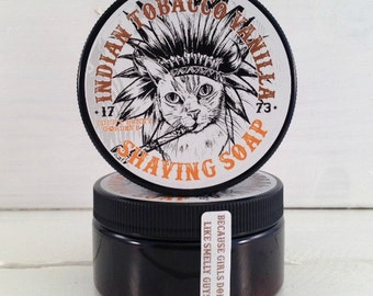 Indian Tobacco Mens Shaving Soap Jar, Masculine Mens Soap, Shaving Soap for Men, Gifts for Men, Fun Gifts For Dad, Funny Cats, Wet Shave