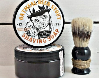 Oatmeal Stout Mens Shaving Soap Jar, Beer Soap For Men, Funny Gifts for Dad, Cheers!, Soap for Beer Lovers, Shaving Soap, Shaving Soap