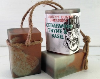 Cedarwood Soap-On-A-Rope, Mens Cedarwood Soap Bar, Fun Gift Ideas For Dad, Lumberjack Soap Bar, Old Fashioned Soap On A Rope, Jute Rope