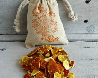 Organic Orange Herbal Sachets | BULK Dried Orange Peel Sachets | Orange Potpourri Sachet | BULK Orange Wedding Favor | Scented Drawer Sachet