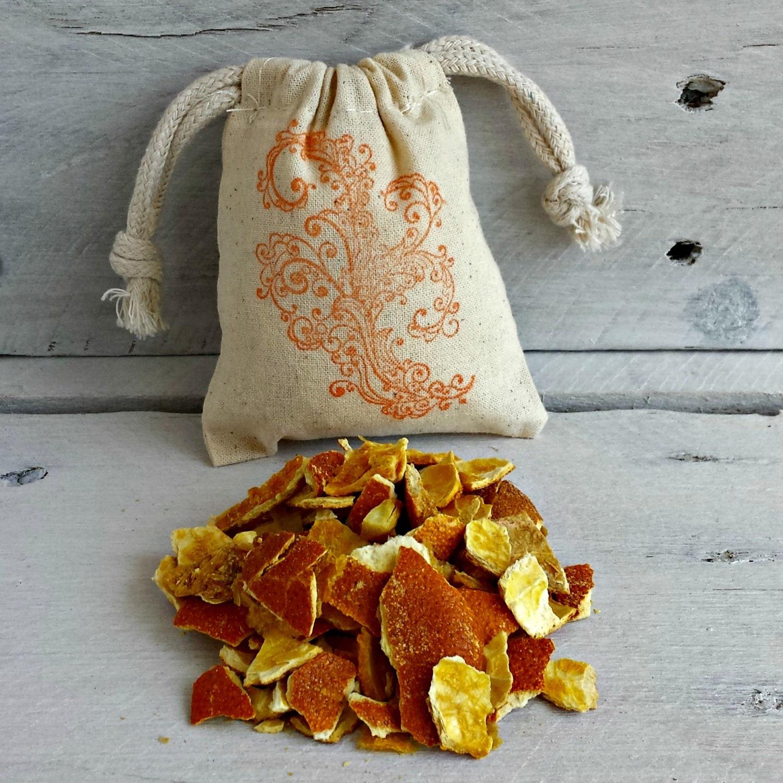 Organic Orange Herbal Sachets Dried Orange Peel Sachets Orange