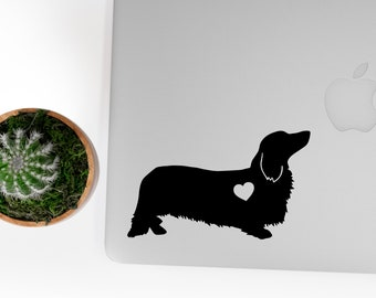 Long Haired Dachshund Vinyl Decal, Best Friend Gift, Cute Stickers, Dog Stickers, Car Decals, Laptop Stickers, Macbook Decal