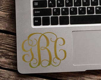 Gold Monogram Sticker - Monogram Decal - Personalized Sticker - Initials Sticker - Initials Decal - Vine Monogram