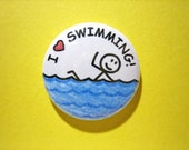 Swimming pin - I heart Swimming - 1 quot pin-on button