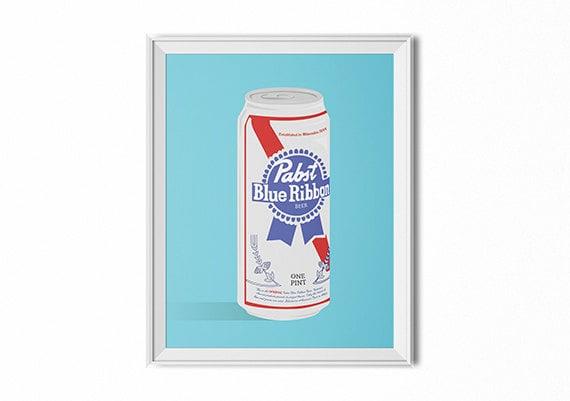 Pabst Blue Ribbon Art Pbr Beer Wall Art Bar Art Kitchen Print Pop Art Wall Decor Dorm Art Office Art Modern Art Minimalist Print