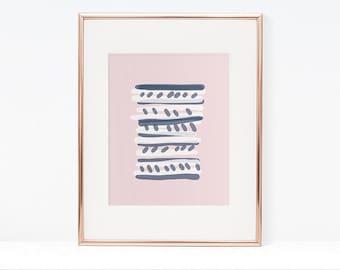 Abstract wall art, pink and navy art, pastel wall art, minimal art print, modern wall art, dorm wall art, luxurious art print, gallery wall