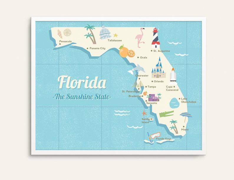 State map poster, Florida state print, retro map illustration, vintage  travel art, retro desert art, children\'s room art, map wall art