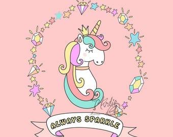 Always Sparkle - Unicorn Graphic Style Wall Art, Fine Art Print