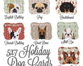 5x7 Holiday Cards - Happy Holidays - Bulldogs, Pug, Great Dane, German Shephard, Shih Tzu, Dachshound