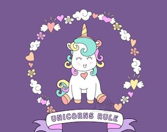 Unicorns Rule - Unicorn Graphic Style Wall Art, Fine Art Print