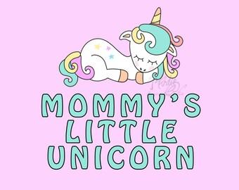 Mommy's Little Unicorn - Unicorn Graphic Style Wall Art, Square Fine Art Print