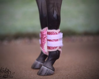 Custom/CM Sparkly Pink Glitter Split/Brushing Boots for 1:9 (Traditional scale) Model Horses