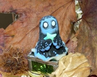 OOAK Spooky Ghost Figurine Polymer Clay Cute Handmade Galaxy Ghost Miniature Figure