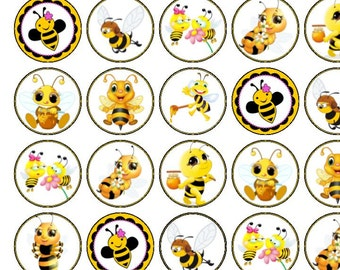 30 Assorted Little Bees Premium Rice Paper Cup Cake Toppers
