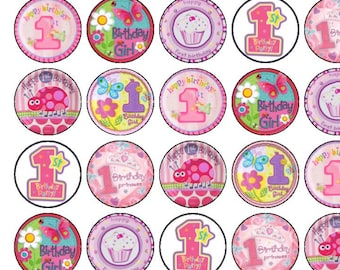 30 Assorted Girls 1st Birthday Premium Rice Paper Cup Cake Toppers