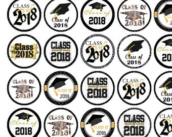 30 Assorted Class/Graduation 2018 Premium Rice Paper Cup Cake Toppers