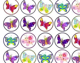 30 Assorted Cute Butterflies Premium Rice Paper Cup Cake Toppers