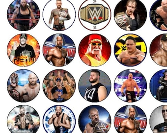 30 Assorted Wresting Premium Rice Paper Cup Cake Toppers