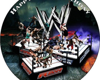 Wrestling Personalised Pre Cut Icing/Rice Paper Cake Topper 7.5""