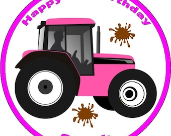 Pink Tractor Edible Personalised Icing/Premium Rice Paper/ 30 Cup cake Toppers