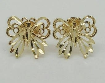 6d6ce051f 14k Solid Yellow Gold Butterfly Stud Earrings Women/Children Push Back 9MM