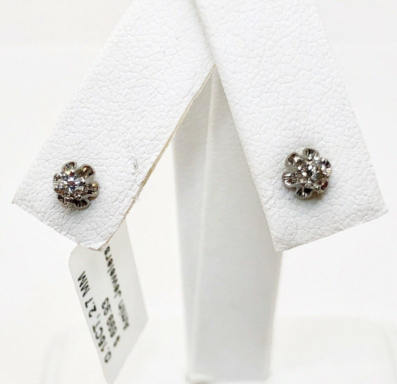 14K White Gold 0.15 Ct Round Diamond Solitaire Stud Earrings Push back Unisex