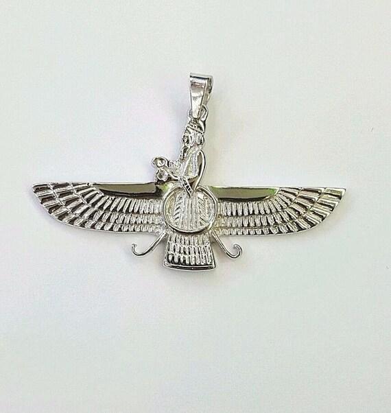 18k White gold Farvahar Ahura Mazda Zoroastrian Persian   Etsy