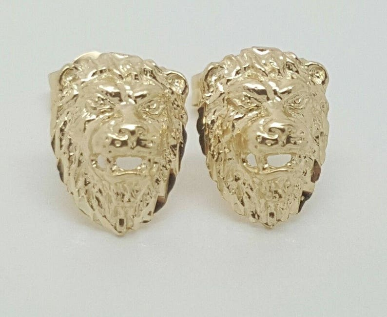2e4a60562 14k Solid Yellow Gold Lion Head Leo Stud Earrings | Etsy