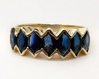 Vintage 14k Solid Yellow Gold 4.0 Ct Natural Marquise Blue Sapphire Cluster Ring