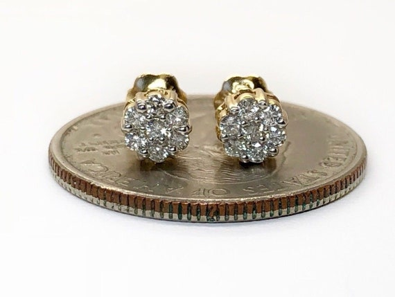 0.50CT NATURAL ROUND DIAMONDS CLUSTER FLOWER STUDS IN 14K GOLD 6MM DEAL