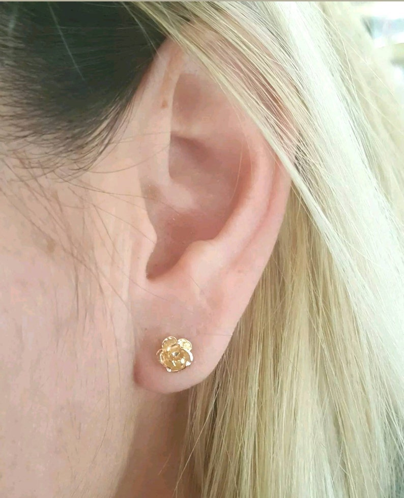 aa5081f3d 14k Solid Yellow Gold Rose Flower Stud Earrings Women/Children | Etsy