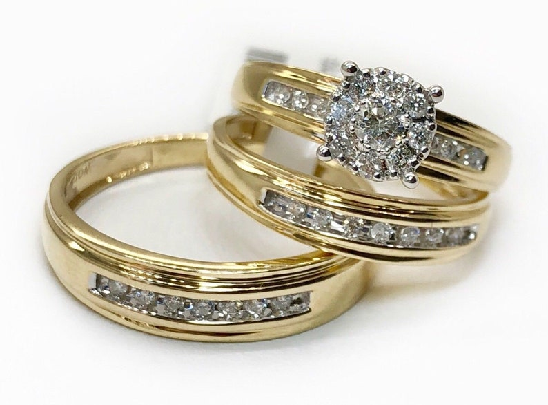 For Him and Her Trio Wedding Sets in 0.90 Ct Brilliant Cut 18k Yellow Gold Over