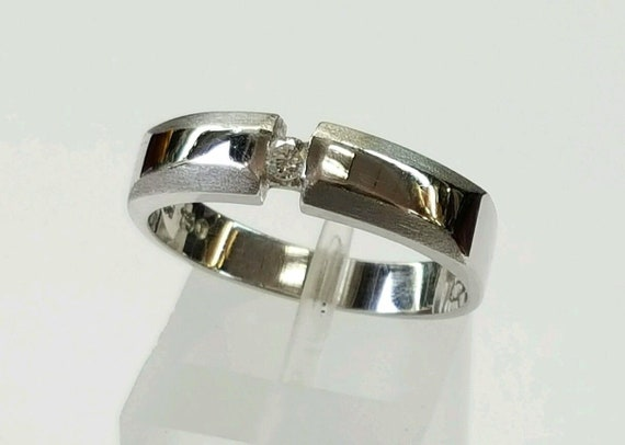 18k Solid White Gold Natural Diamond Solitaire Ba… - image 3
