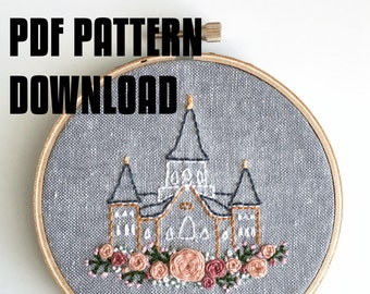 Provo City Center Temple Embroidery Pattern Download PDF