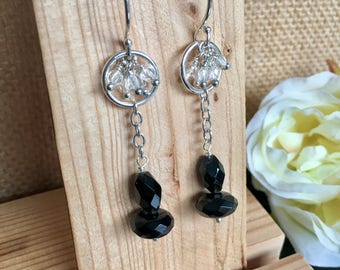 Black and white earrings - Gemstone earrings - Onyx Earrings - Crystal Earrings