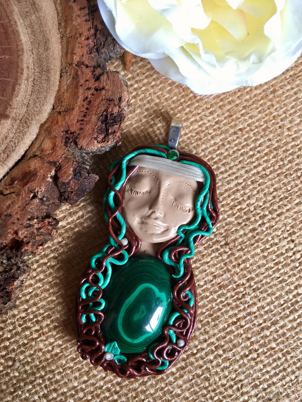 clay face quartz crystal point tiger eye natural gemstone necklace Malachite Sleeping Goddess Pendant crystal polymer clay pendant