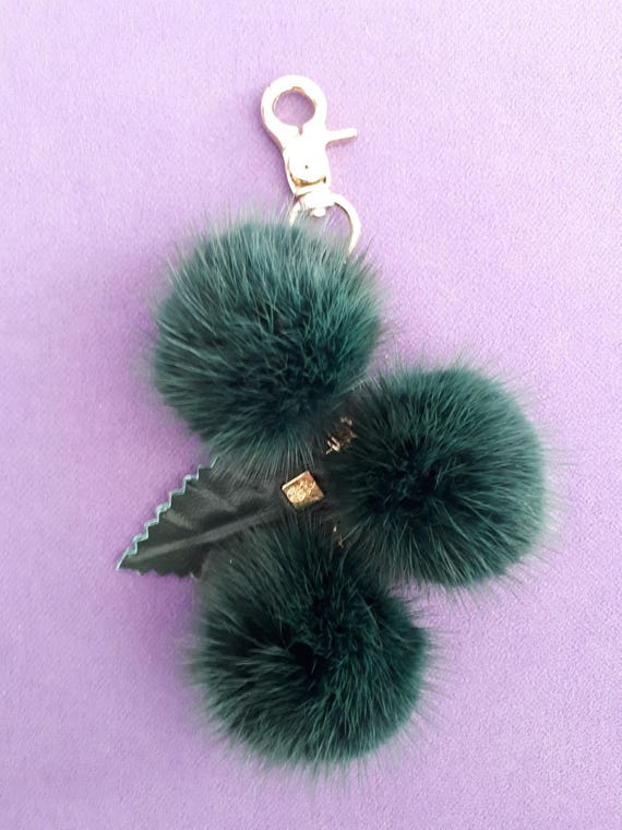 Blue   Mink Bag Charm Keychain Keyring pompom with chain and Real leather Leaf