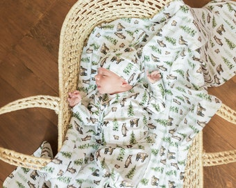 USA Made SewMine Woodland bear outdoors swaddle receiving blanket Newborn reveal knot gown Hospital photo coming home boy girl hat baby