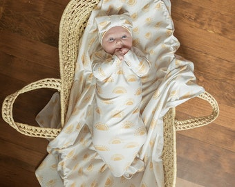 USA Made SewMine Sun Golden Sunset Boho neutral swaddle receiving baby blanket Newborn knot gown Hospital photo coming home boy girl hat