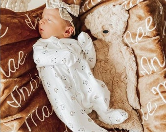 Personalized Name Minky blanket / hospital coming home outfit boy girl beanie knot hat bow custom name baby receiving rainbow blanket