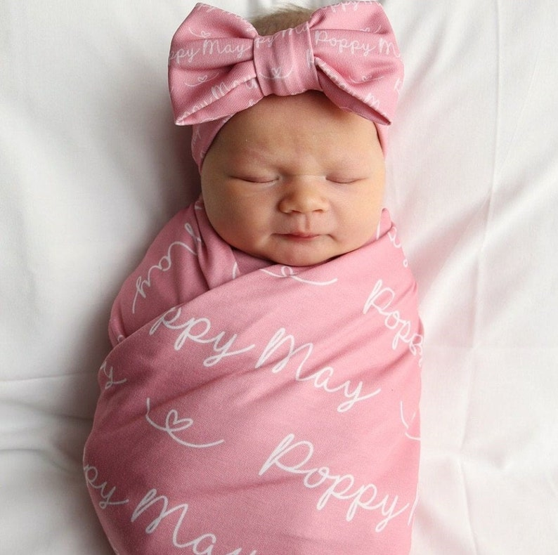 SewMine personalized swaddle receiving baby blanket Newborn Bow Wrap