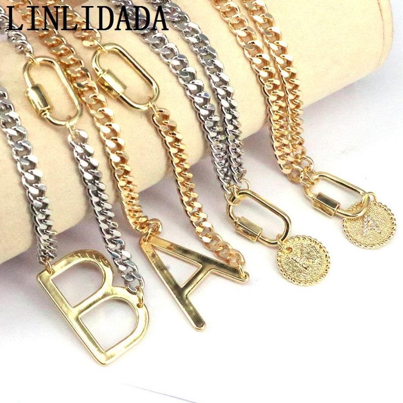 5Pcs Initial letters pendants necklace round charm pendants gold silver chain necklace choose letters