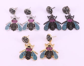 Fashion 3Pairs New High quality Micro Pave Cubic Zirconia Insect bee Earrings