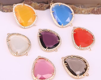 Fashion 10Pcs Multi color connector pendant beads micro pave cz faceted gemstone jewelry