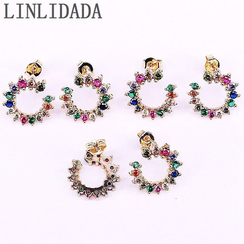 5Pairs New design gold micro pave rainbow zircon cz stud earrings for women or girls partywedding jewelry earrings