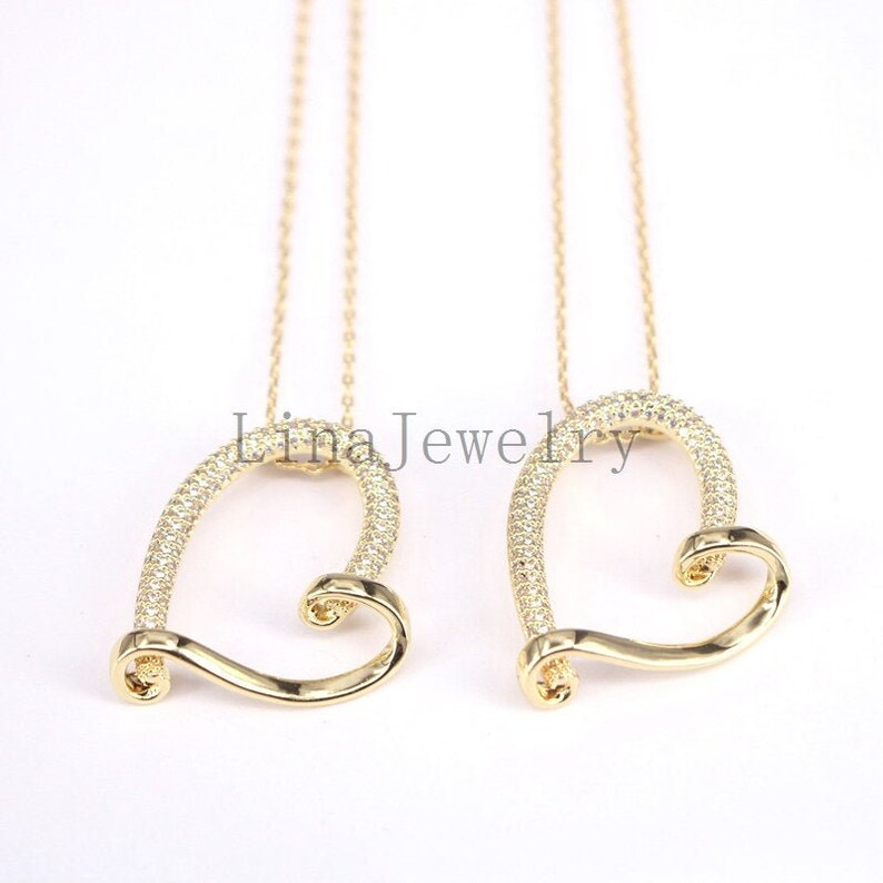 10Pcs Heart Pendant Necklace Zirconia Micro Pave CZ Women/'s Fashion Jewelry Heart Shaped Gold Color Jewelry